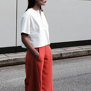 Bleached ultra shirt and Burnt ora culottes.